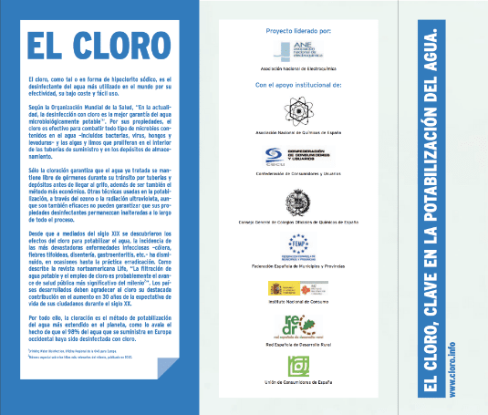 El cloro, clave en la potabilización del agua